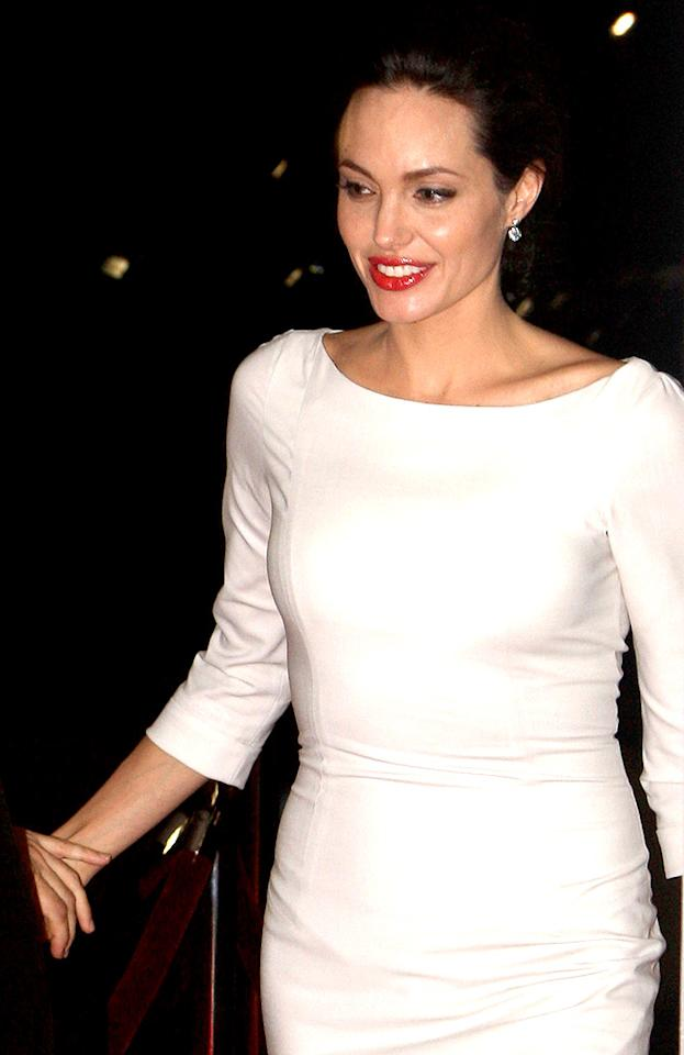 "Brad's girlfriend Angelina Jolie topped The Hollywood Reporter's list of highest-earning actresses, released Friday. The actress commands $15 million per film. Chapple/St. Clair/<a href=""http://www.splashnewsonline.com"" target=""new"">Splash News</a> - December 1, 2008"