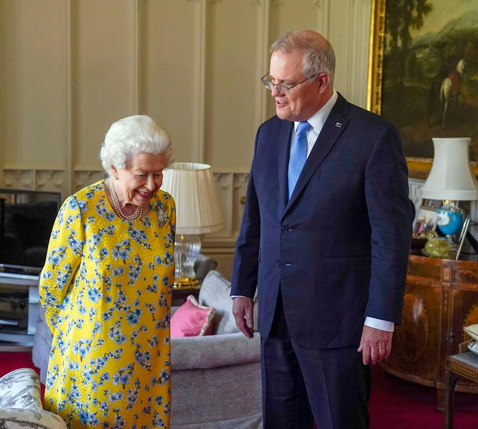 Britain's Queen Elizabeth II receives Australia's Prime Minister Scott Morrison during an audience in the Oak Room at Windsor Castle, Berkshire on June 15, 2021. (Photo by Steve Parsons / POOL / AFP) (Photo by STEVE PARSONS/POOL/AFP via Getty Images)