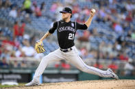 Colorado Rockies starting pitcher Kyle Freeland delivers during the sixth inning of a baseball game against the Washington Nationals, Saturday, Sept. 18, 2021, in Washington. (AP Photo/Nick Wass)