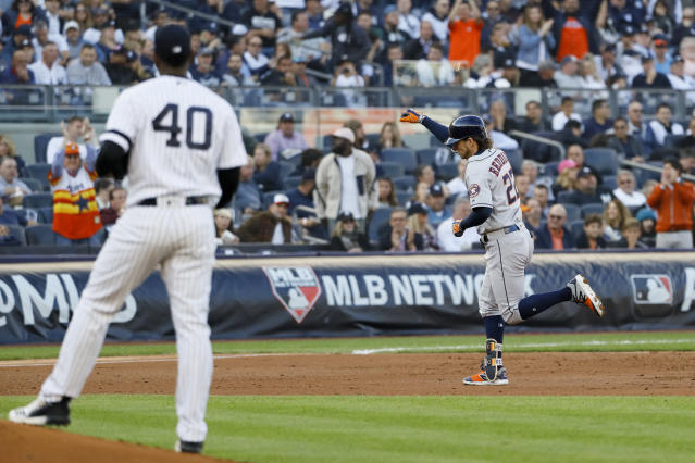 Houston Astros' Josh Reddick rounds the bases after a home run off New York Yankees starting pitcher Luis Severino during the second inning in Game 3 of baseball's American League Championship Series Tuesday, Oct. 15, 2019, in New York. (AP Photo/Matt Slocum)