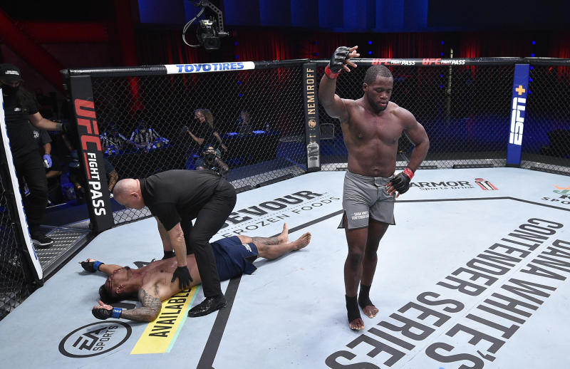 LAS VEGAS, NEVADA - SEPTEMBER 08: Tafon Nchukwi reacts after his knockout victory over Al Matavao in a light heavyweight bout during week six of Dana White's Contender Series season four at UFC APEX on September 08, 2020 in Las Vegas, Nevada. (Photo by Chris Unger/DWCS LLC/Zuffa LLC)