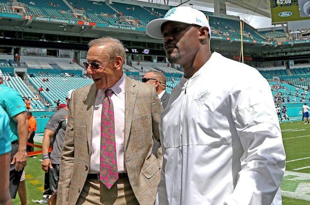 Miami Dolphins owner Stephen Ross, left, and Dolphins head coach Brian Flores have a lot of work to do. (Getty Images)