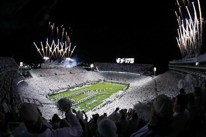 Fireworks go off inside of Beaver Stadium prior to the game between the Michigan Wolverines and the Penn State Nittany Lions.