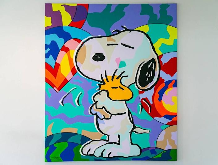 """Graffiti pop artist Jozza's artwork """"Snoopy and Woodstock"""" hangs on the second floor of Joe DiMaggio Children's Hospital in Hollywood on Friday, June 18, 2021. """"Snoopy and Woodstock"""" was donated to the hospital by Kip Hunter and her husband, Joey Epstein."""