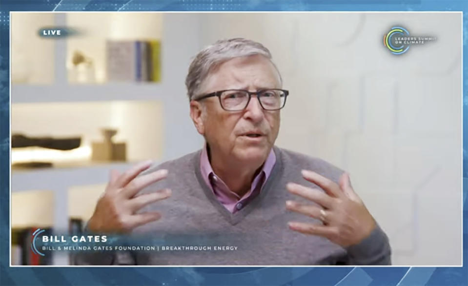 In this image from video, Bill Gates speaks during the White House Climate Leaders Summit, Friday, April 23, 2021. The White House is bringing out the billionaires, the CEOs and the union executives Friday to help sell President Joe Biden's climate-friendly transformation of the U.S. economy at his virtual summit of world leaders. (AP Photo)