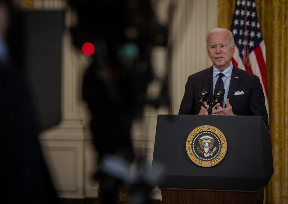 WASHINGTON, DC - MAY 7:  President Joe Biden delivers remarks in the White House east room on the latest jobs report, in Washington, DC.  (Photo by Bill O'Leary/The Washington Post via Getty Images)