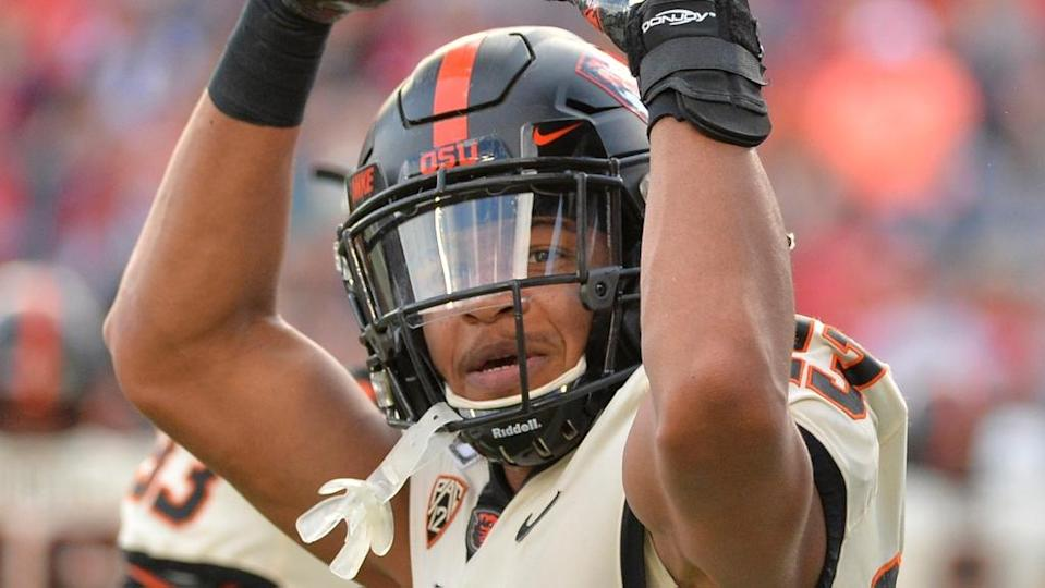 Isaiah Dunn Oregon State reacts on field