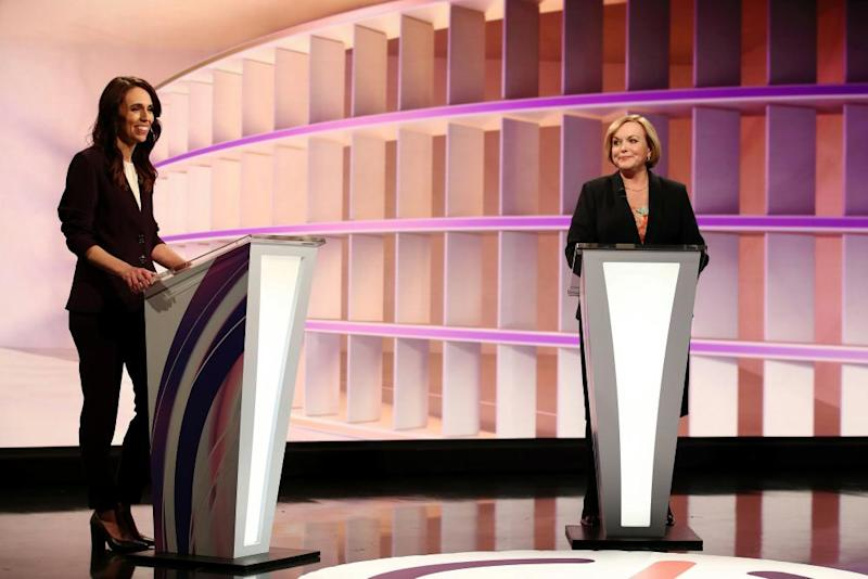 New Zealand Prime Minister Jacinda Ardern and National leader Judith Collins debate in Auckland