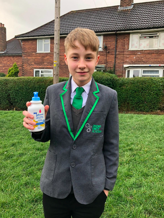 Oliver picked up the £1.60 tub of Johnson's child hand wash from a Tesco store as he waited for the school bus. (SWNS)