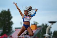 <p>Tara Davis of The USA in action during the final of the women's long jump on day four of The IAAF World U20 Championships on July 13, 2018 in Tampere, Finland. (Photo by Charlie Crowhurst/Getty Images for IAAF)</p>
