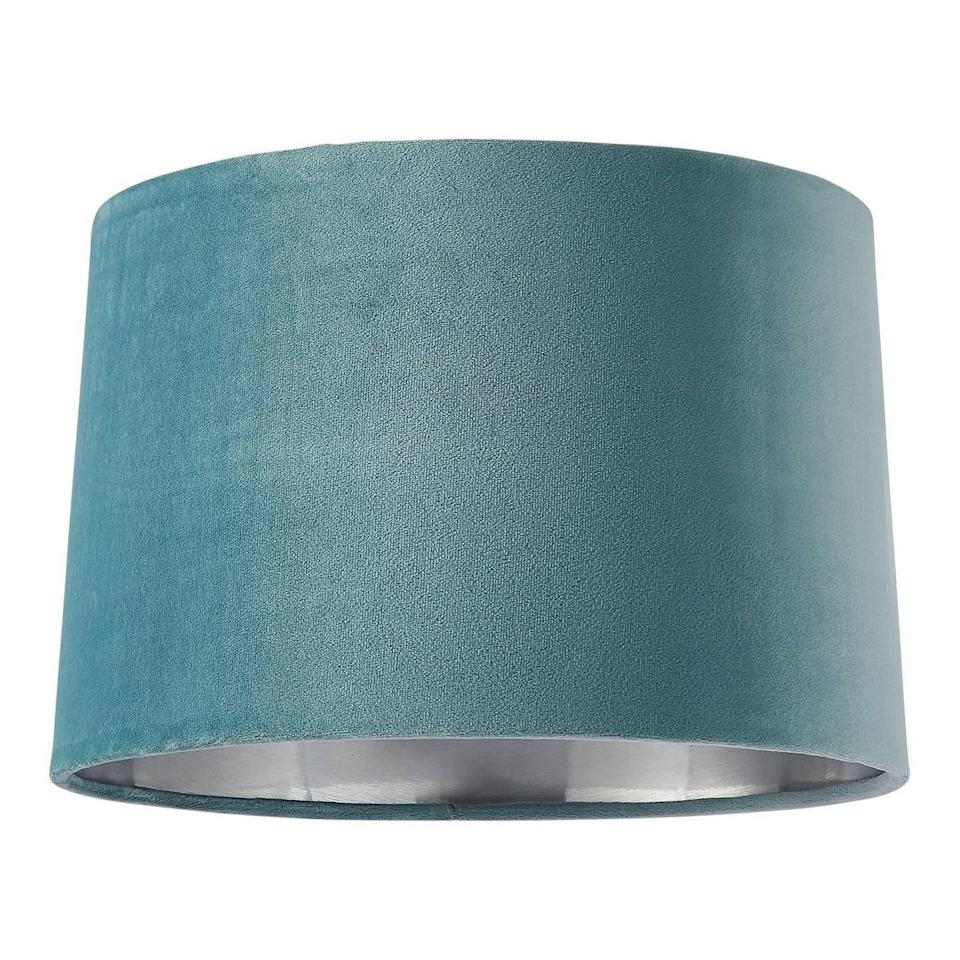 """<p>Duck egg blue is a total gift in design schemes, complementary to any number of warm colour palettes from mustard yellows to cherry reds, and a whole variety of pink shades. Or you can pair with a simple white base to make it your focus. </p><p><strong>Shop now: <a href=""""https://www.homebase.co.uk/samet-velvet-drum-shade-duck-egg-30cm/12882903.html"""" rel=""""nofollow noopener"""" target=""""_blank"""" data-ylk=""""slk:House Beautiful Samet Velvet Lampshade at Homebase"""" class=""""link rapid-noclick-resp"""">House Beautiful Samet Velvet Lampshade at Homebase</a></strong></p>"""