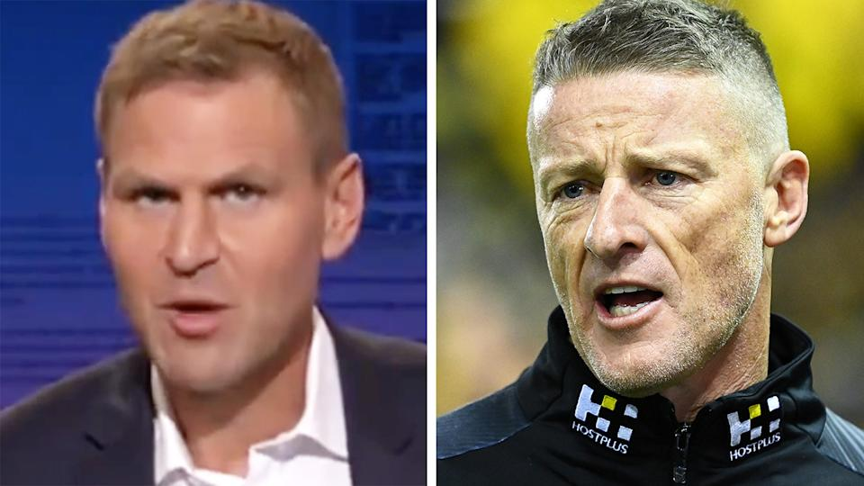 Kane Cornes has labelled Richmond coach Damien Hardwick 'precious' over his complaints about having to play one home game at Marvel Stadium over the MCG last weekend. Pictures: Channel 9/Getty Images