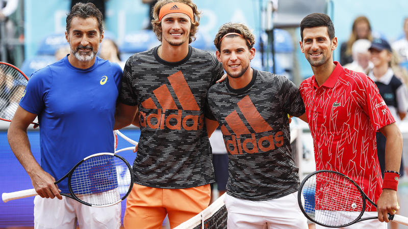 Nenad Zimonjic, Alexander Zverev, Dominic Thiem and Novak Djokovic, pictured here posing for a photo at the Adria Tour.