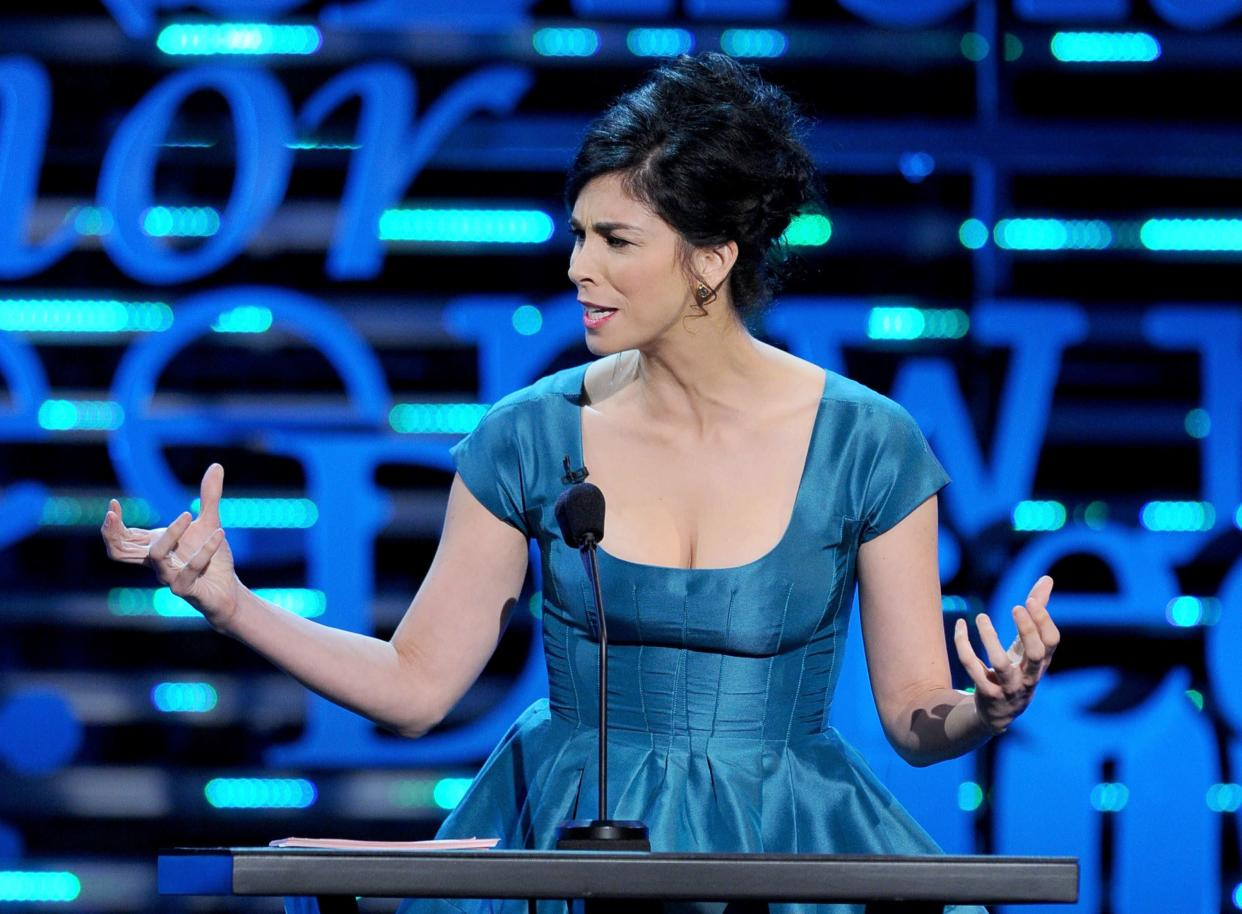 CULVER CITY, CA - AUGUST 25: Comedienne Sarah Silverman speaks onstage during The Comedy Central Roast of James Franco at Culver Studios on August 25, 2013 in Culver City, California. The Comedy Central Roast Of James Franco will air on September 2 at 10:00 p.m. ET/PT. (Photo by Kevin Winter/Getty Images for Comedy Central)