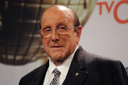 Producer Clive Davis poses backstage at the 46th NAACP Image Awards in Pasadena