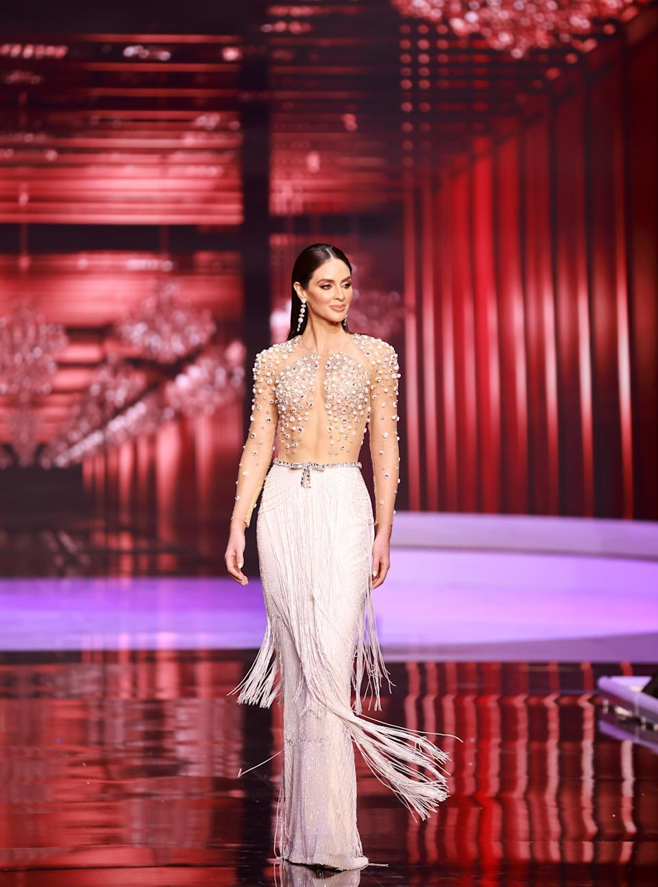 <p>Estefania Soto Torres, Miss Universe Puerto Rico 2020 competes on stage as a Top 10 finalist in an evening gown of her choice during the 69th Miss Universe Competition on May 16, 2021 at the Seminole Hard Rock Hotel & Casino in Hollywood, Florida airing LIVE on FYI and Telemundo. Contestants from around the globe have spent the last few weeks touring, filming, rehearsing and preparing to compete for the Miss Universe crown. (PHOTO: Miss Universe)</p>