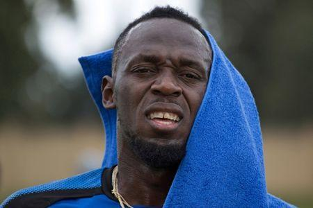 Former Olympic sprinter Usain Bolt attends a practice session with Mamelodi Sundowns soccer team in Johannesburg, South Africa, January 29, 2018. REUTERS/James Oatway/Files