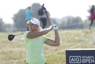 Sweden's Anna Nordqvist plays a driver from the 5th tee during the final round of the Women's British Open golf championship, in Carnoustie, Scotland, Sunday, Aug. 22, 2021. (AP Photo/Scott Heppell)