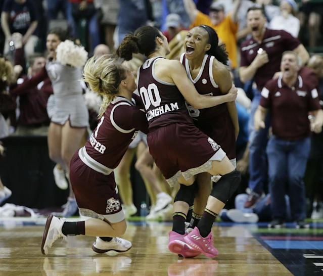 <p><strong>46. Mississippi State</strong> <br>Top 2017-18 sport: women's basketball. Trajectory: Up. The Bulldogs hit an all-time Learfield Cup high this year at No. 42, their third straight year cracking the top 50. A second straight runner-up finish in women's basketball and a remarkable College World Series run were the 2018 highlights. </p>