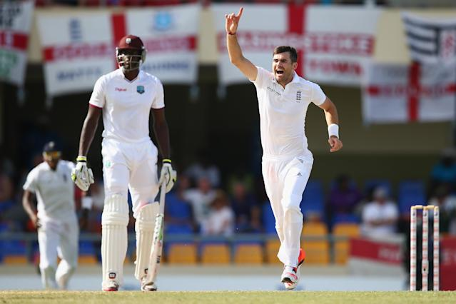 <p>James Anderson of England claims the wicket of Denesh Ramdin to become England's most successful Test bowler of all time </p>