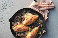 """The sweet-and-salty play of dates and green olives bolstered by white wine, thyme, and caramelized shallots make this easy weeknight dish holiday worthy. <a href=""""https://www.epicurious.com/recipes/food/views/pan-roasted-chicken-with-shallots-and-dates?mbid=synd_yahoo_rss"""" rel=""""nofollow noopener"""" target=""""_blank"""" data-ylk=""""slk:See recipe."""" class=""""link rapid-noclick-resp"""">See recipe.</a>"""