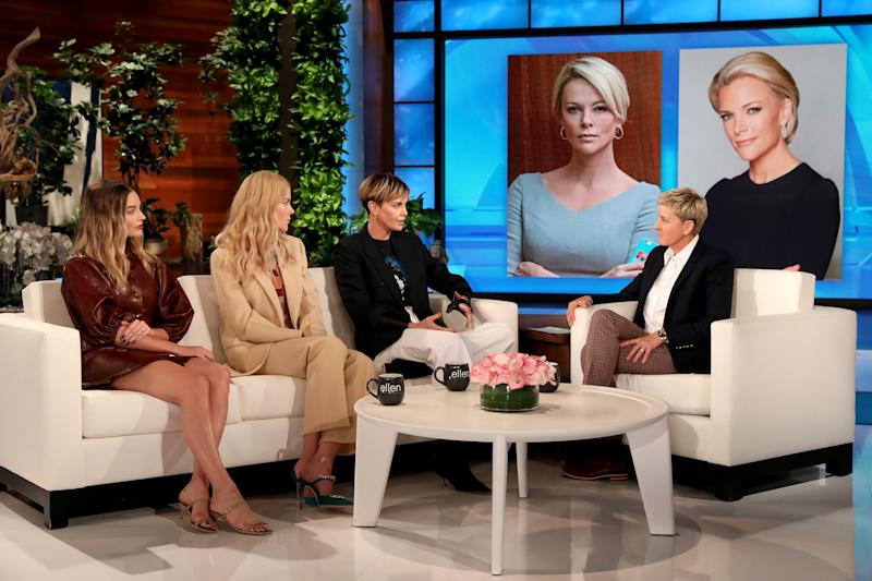 "Alongside her ""Bombshell"" co-stars, Charlize Theron talks to Ellen DeGeneres about portraying Megyn Kelly in the film. (Photo: Michael Rozman/Warner Bros.)"