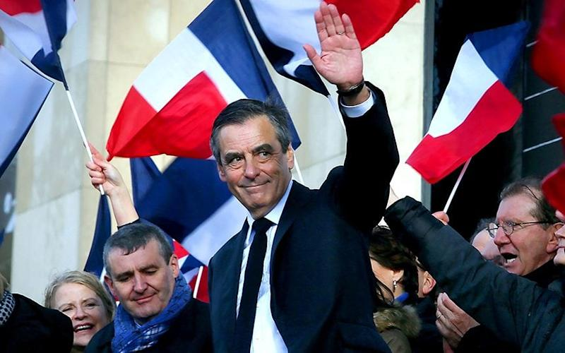 François Fillon holds a rally at Paris' Trocadero on March 5 - Credit: Alfonso Jimenez/REX/Shutterstock