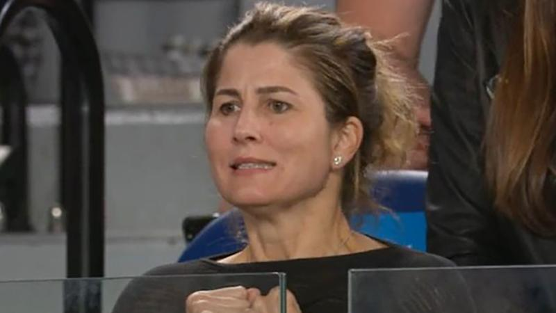 Mirka Federer is pictured nervously reacting as her husband, Roger Federer, defeated John Millman at the Australian Open.