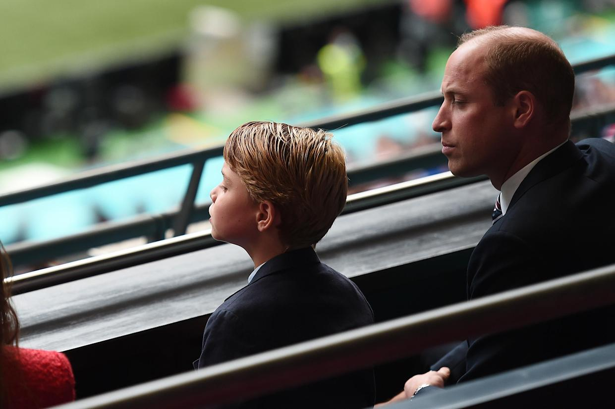 LONDON, ENGLAND - JUNE 29: Prince William, President of the Football Association with Prince George during the UEFA Euro 2020 Championship Round of 16 match between England and Germany at Wembley Stadium on June 29, 2021 in London, England. (Photo by Eamonn McCormack - UEFA/UEFA via Getty Images)