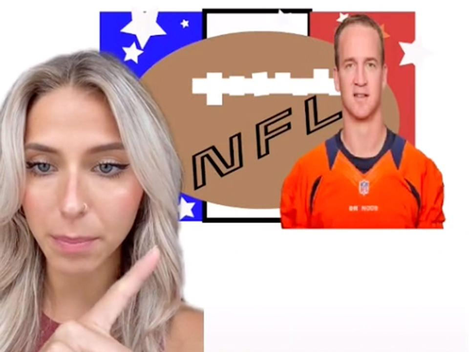 """TikTok user Emily Zugay makes a mock-up of the NFL logo featuring """"the president of the football in America."""""""