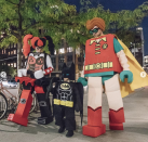 <p>As Lego Batman characters.</p>
