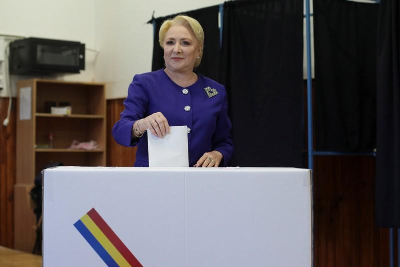 Former Romanian PM and presidential candidate Viorica Dancila casts her ballot in the first round of a presidential election