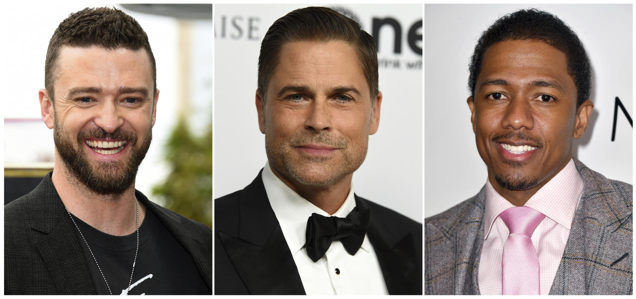 "This combination photo shows, from left, actor-singer Justin Timberlake, actor Rob Lowe and comedian-TV host Nick Cannon who are involved in three game shows debuting on Fox. Timberlake co-created and will executive produce ""Spin the Wheel."" Lowe will host ""Mental Samurai,"" where contestants compete while being transported at high speeds in a capsule. Cannon will preside over ""The Masked Singer,"" where masked celebrities perform and a celebrity panel attempts to identify them. (AP Photo)"