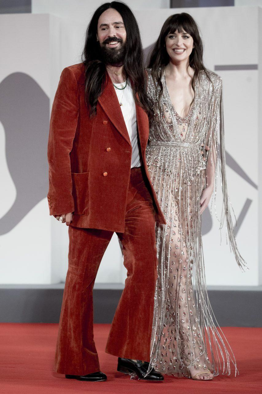 VENICE, ITALY - SEPTEMBER 03: Dakota Johnson and Alessandro Michele attend the red carpet of the movie 'The Lost Daughter' during the 78th Venice International Film Festival on September 03, 2021 in Venice, Italy. (Photo by Alessandra Benedetti - Corbis/Corbis via Getty Images)
