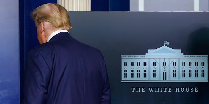 President Donald Trump walks out of the briefing room at the White House in Washington, Tuesday, Nov. 24, 2020, after making a brief statement. (AP Photo/Susan Walsh)