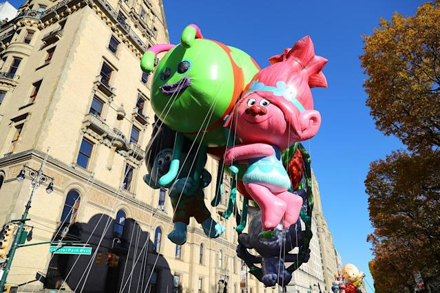 "<p>The DreamWorks Animation ""Trolls"" balloon hitches a ride on the Caterbus down Central Park West in the 91st Macy's Thanksgiving Day Parade in New York, Nov. 23, 2017. (Photo: Gordon Donovan/Yahoo News) </p>"