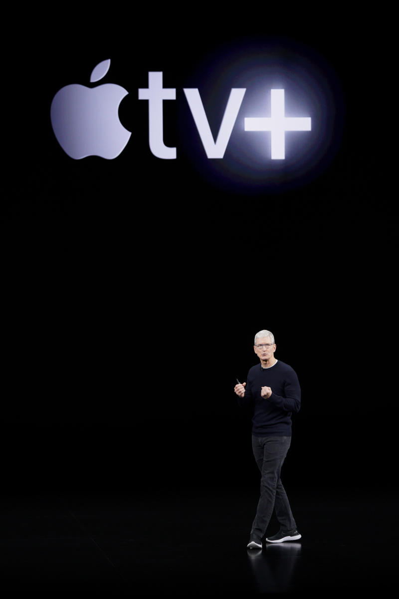 Apple CEO Tim Cook announces Apple TV+ during a new product event on Tuesday, September 10, 2019, in Cupertino, California.