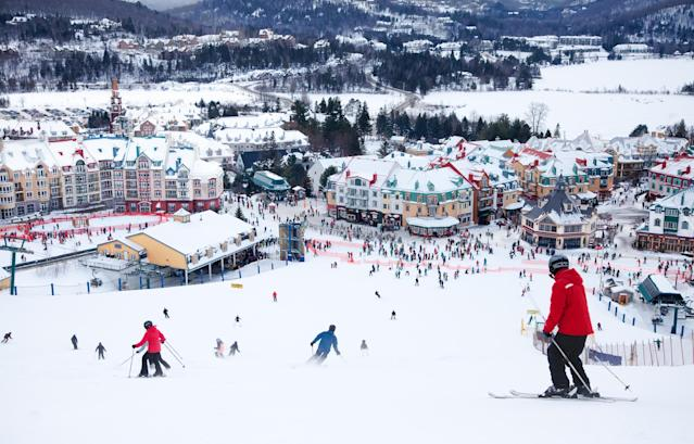 Skiers and snowboarders are sliding down the main slope at Mont-Tremblant. (Getty Images)