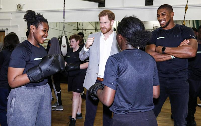 Prince Harry and Anthony Joshua attend the launch of Made By Sport - AFP