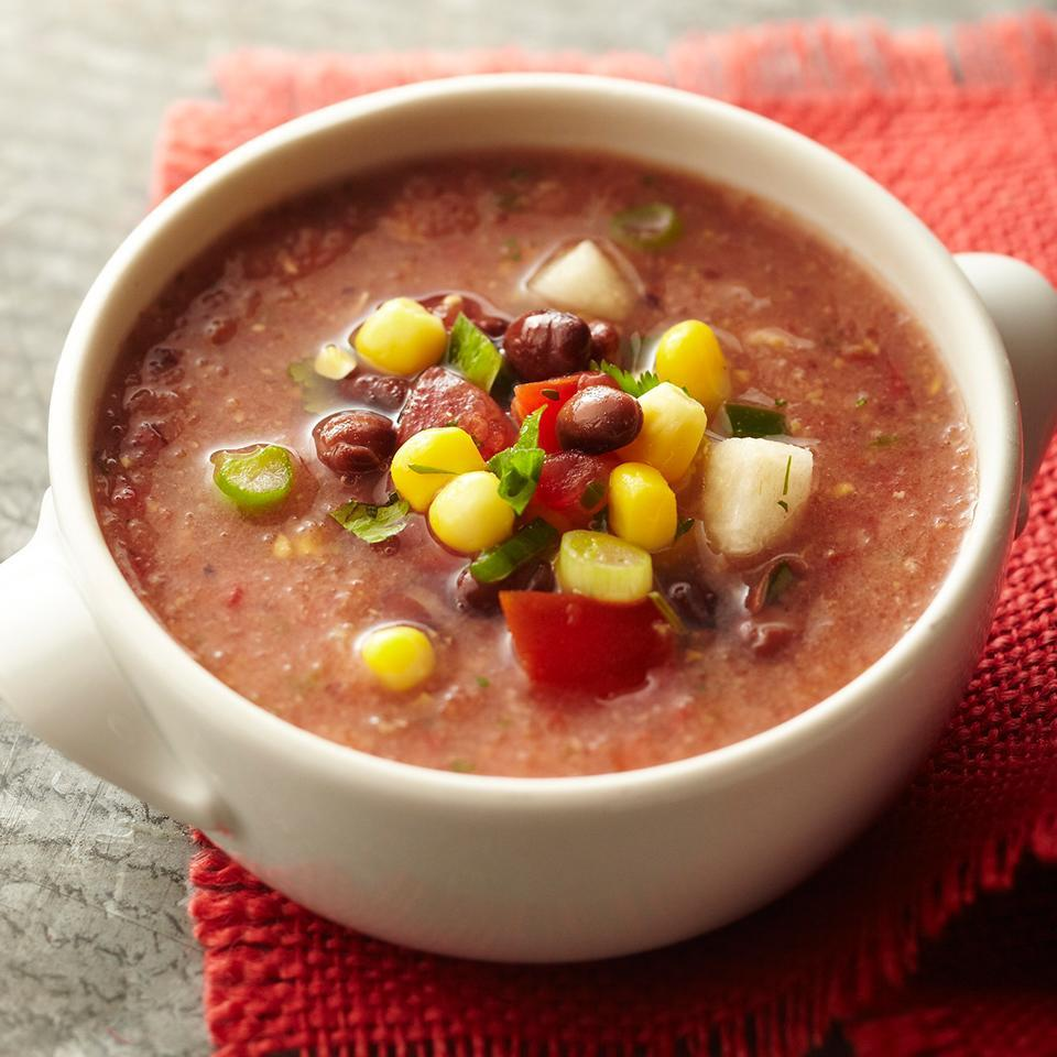 <p>Add pizzazz to any meal by starting it off with this refreshing gazpacho soup, topped with a delicious black bean and corn salsa.</p>