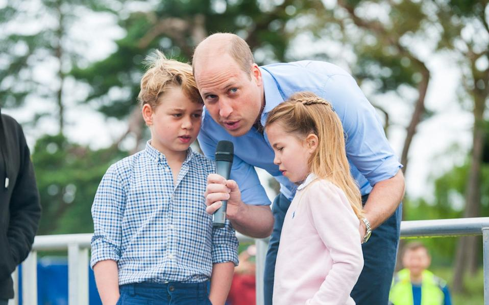Prince William counts the runners down with a little help from Prince George and Princess Charlotte - Ian Burt/Ian Burt