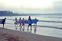 """<p><span>Catch a wave on Sri Lanka's beautiful south coast, before stretching your body and mind on a yoga mat as the sun sets. <a href=""""http://soulandsurf.com"""" rel=""""nofollow noopener"""" target=""""_blank"""" data-ylk=""""slk:Soul and Surf"""" class=""""link rapid-noclick-resp"""">Soul and Surf</a> has recently opened a hotel between Galle and Weligama, and a week's stay there costs from £675pp, including a double room on a full-board basis, and all daily surf and yoga sessions. [Photo: Soul and Surf]</span> </p>"""