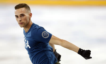 Figure Skating – Pyeongchang 2018 Winter Olympics – Training – Gangneung Ice Arena - Gangneung, South Korea – February 8, 2018 - Adam Rippon of the U.S. reacts. REUTERS/John Sibley