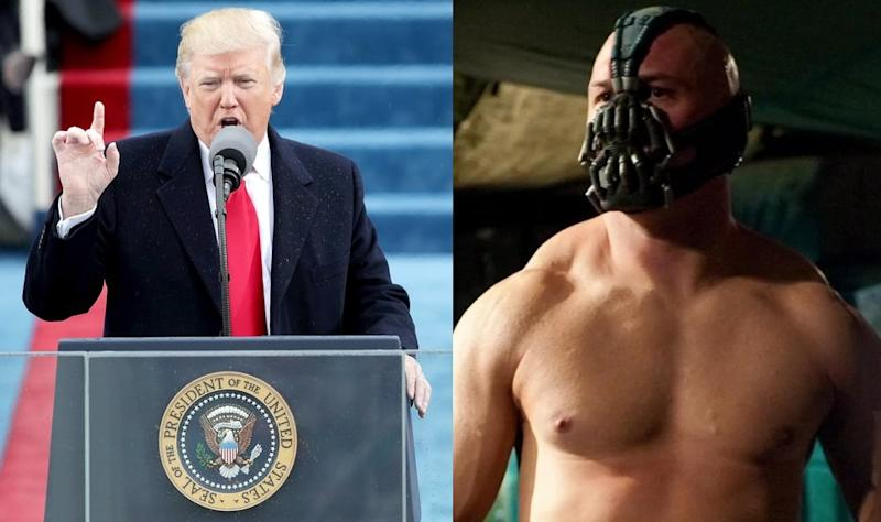 President Donald Trump, and Tom Hardy's Bane (credit: Getty Images/Warner Bros)