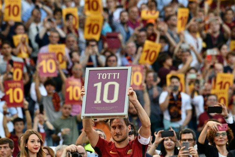 Roma's forward Francesco Totti played his final game for Roma on May 28, 2017 after 24 years with the capital-city side
