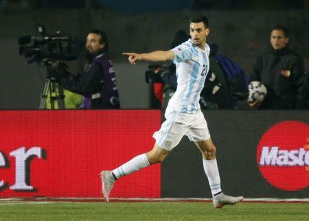 Argentina's Javier Pastore celebrates after scoring against Paraguay during their Copa America 2015 semi-final soccer match at Estadio Municipal Alcaldesa Ester Roa Rebolledo in Concepcion, Chile, June 30, 2015. REUTERS/Andres Stapff