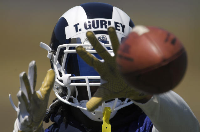 Todd Gurley was a cheat code last season, unbeatable in the fantasy playoffs. (AP Photo/Mark J. Terrill)