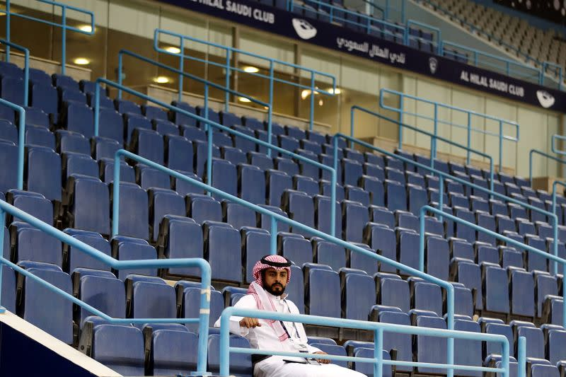 The stands are seen empty after the decision of the Saudi Ministry of Sports, following an outbreak of the coronavirus disease (COVID-19), at King Saud University Stadium, in Riyadh
