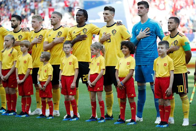 Soccer Football - World Cup - Group G - Belgium vs Tunisia - Spartak Stadium, Moscow, Russia - June 23, 2018 Belgium players line up during the national anthems before the match REUTERS/Christian Hartmann
