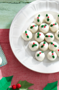 """<p>These truffles are extra tasty because they use Speculoos cookies — the crispy ginger-spiced shortbread cookies from Belgium. Top 'em with holly sprinkles for a cute, festive look.</p><p><strong><a href=""""https://www.countryliving.com/food-drinks/a29640166/white-chocolate-truffles-recipe/"""" rel=""""nofollow noopener"""" target=""""_blank"""" data-ylk=""""slk:Get the recipe"""" class=""""link rapid-noclick-resp"""">Get the recipe</a>.</strong> </p>"""